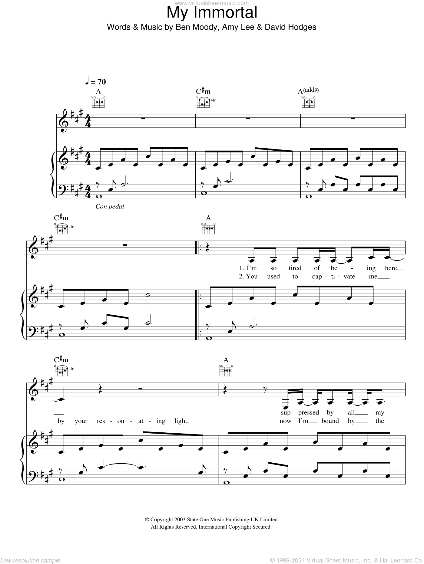 My Immortal sheet music for voice, piano or guitar by Evanescence, Amy Lee, Ben Moody and David Hodges, intermediate. Score Image Preview.