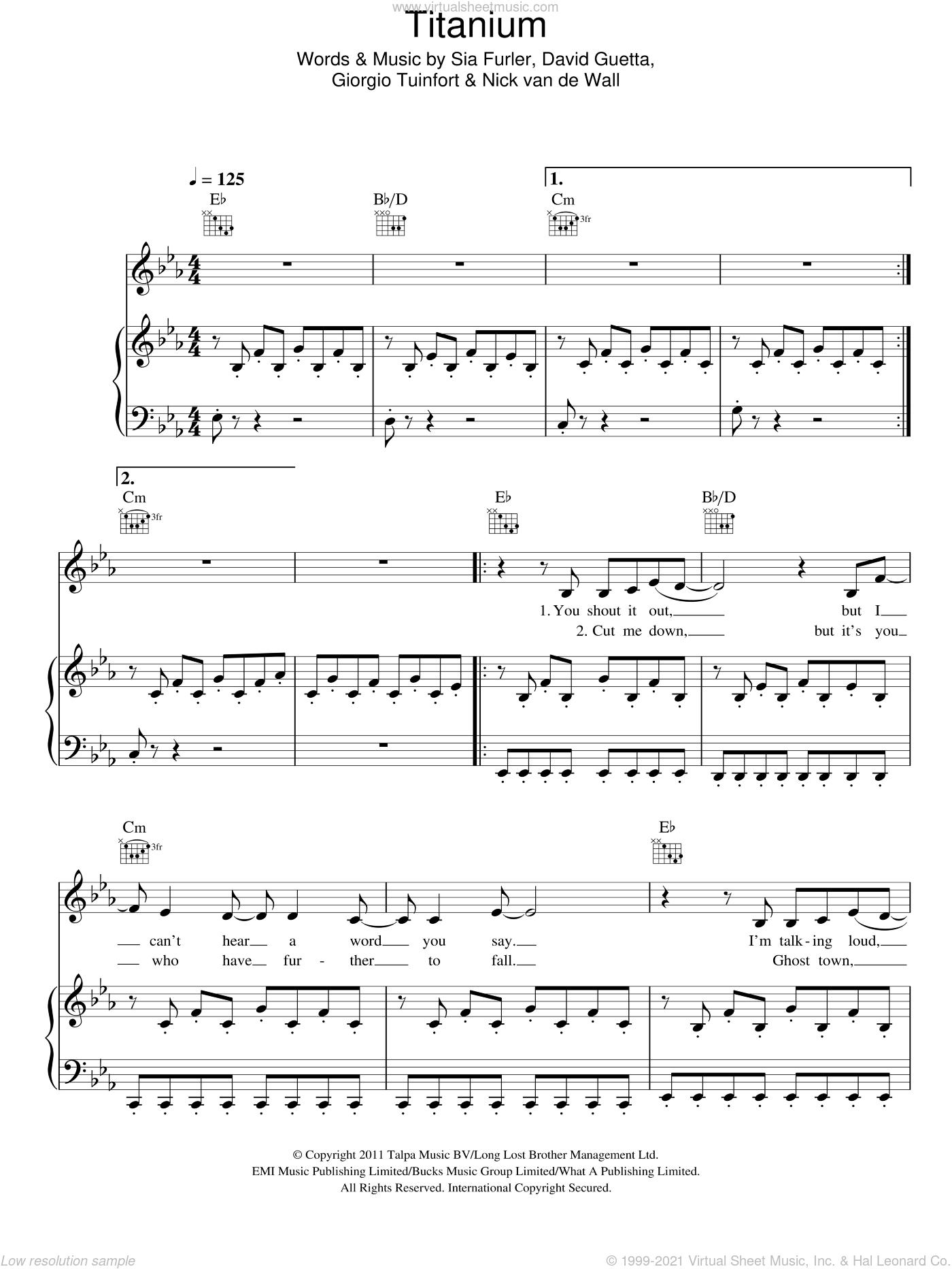 Titanium sheet music for voice, piano or guitar by David Guetta featuring Sia, David Guetta, Giorgio Tuinfort, Nick van de Wall and Sia Furler, intermediate skill level