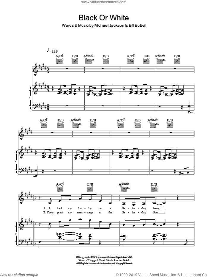 Black Or White sheet music for voice, piano or guitar by Michael Jackson and Bill Bottrell, intermediate skill level