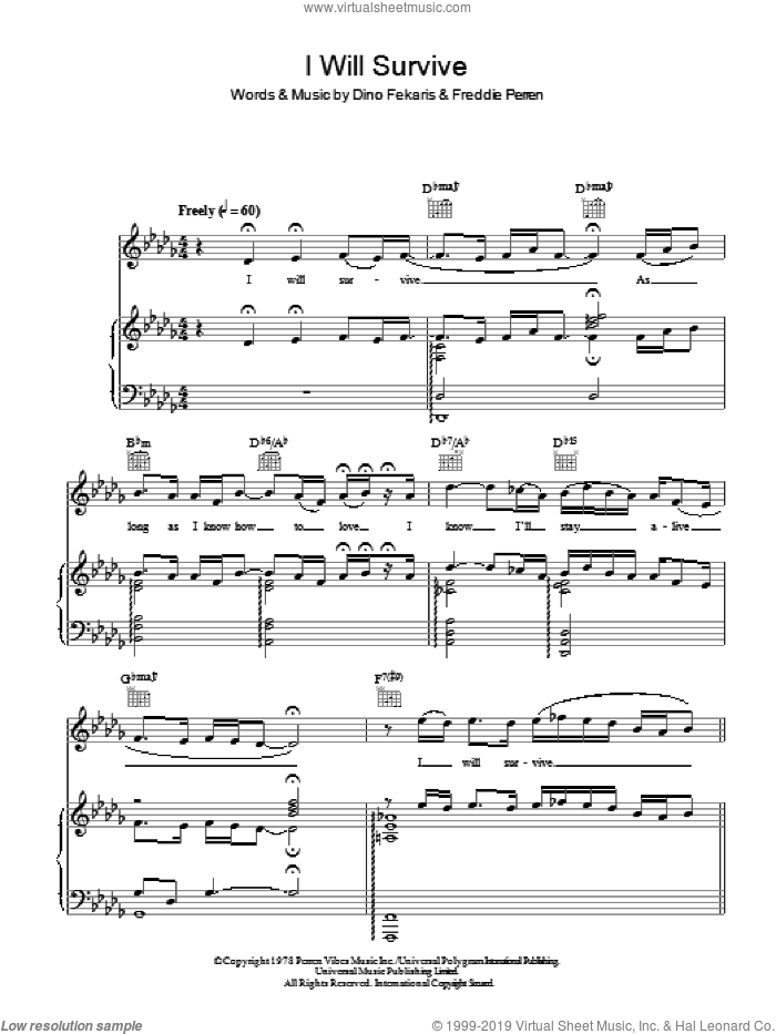 I Will Survive sheet music for voice, piano or guitar by Frederick Perren and Dino Fekaris. Score Image Preview.