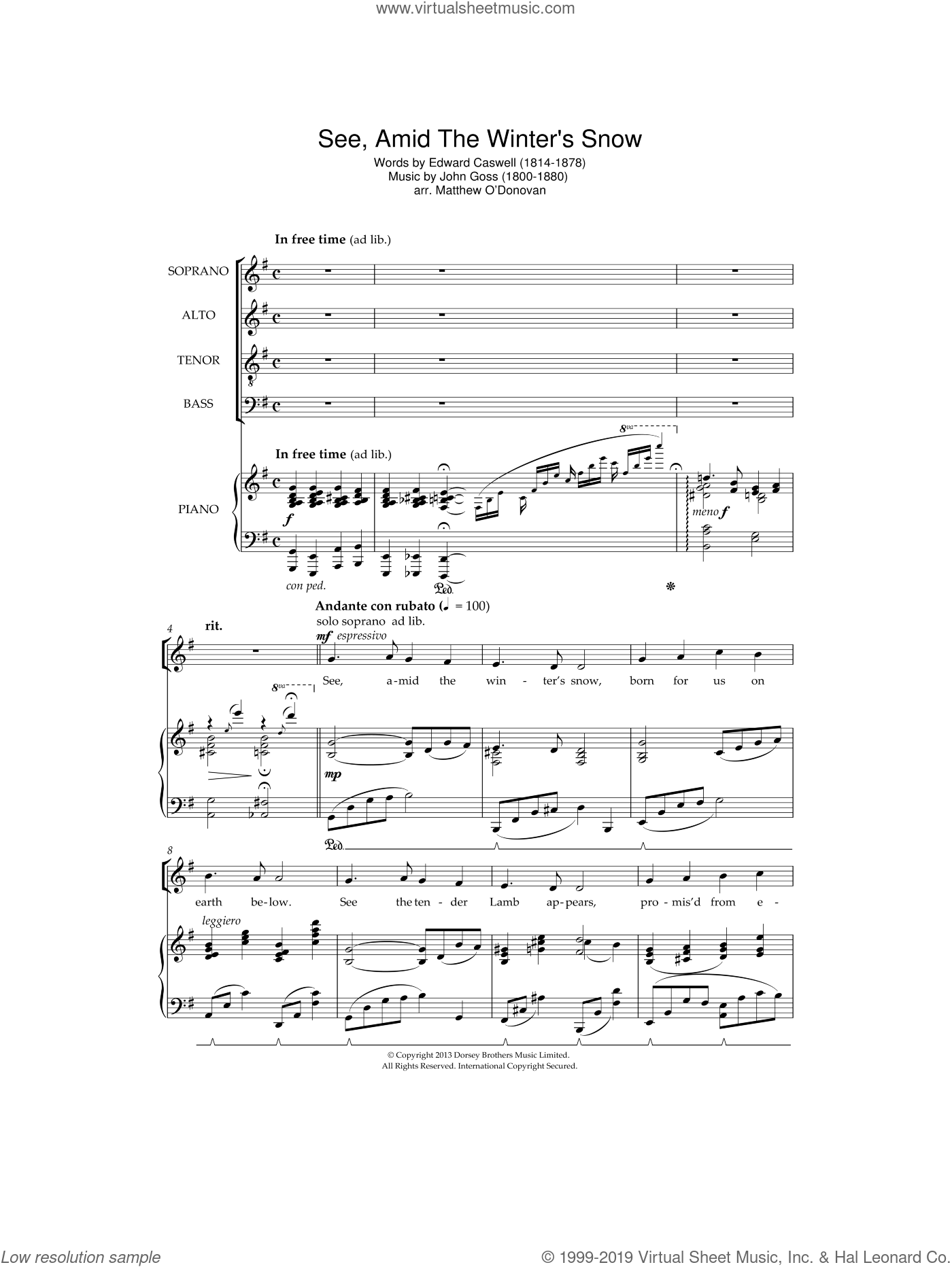 See Amid The Winter's Snow sheet music for choir and piano by John Goss and Edward Caswall. Score Image Preview.