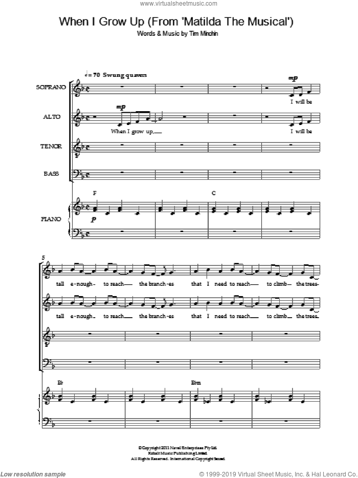 When I Grow Up ('From Matilda The Musical') sheet music for choir and piano by Tim Minchin. Score Image Preview.