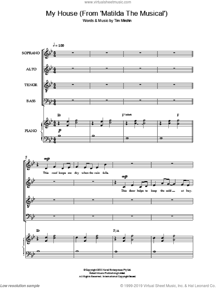 My House ('From Matilda The Musical') sheet music for choir and piano by Tim Minchin