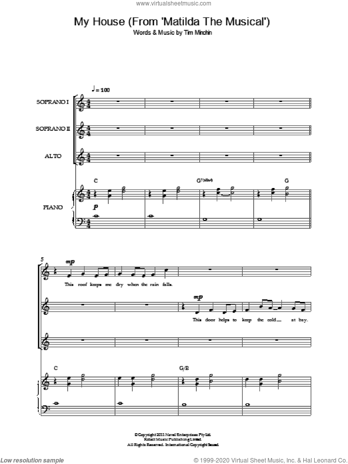 My House ('From Matilda The Musical') sheet music for choir by Tim Minchin, intermediate skill level