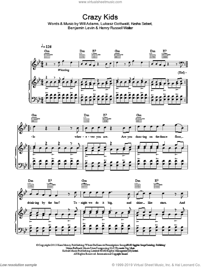 Crazy Kids sheet music for voice, piano or guitar by will.i.am featuring Kesha, Benjamin Levin, Henry Russell Walter, Kesha Sebert, Lukasz Gottwald and Will Adams, intermediate skill level