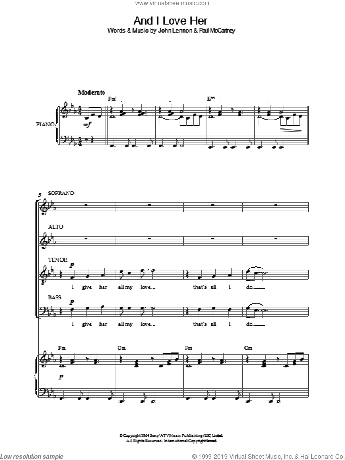 And I Love Her sheet music for choir and piano by Paul McCartney