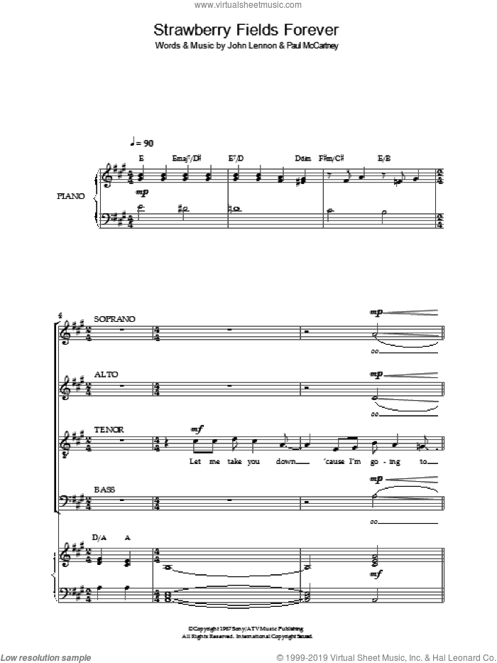 Beatles Strawberry Fields Forever Sheet Music For Choir Pdf
