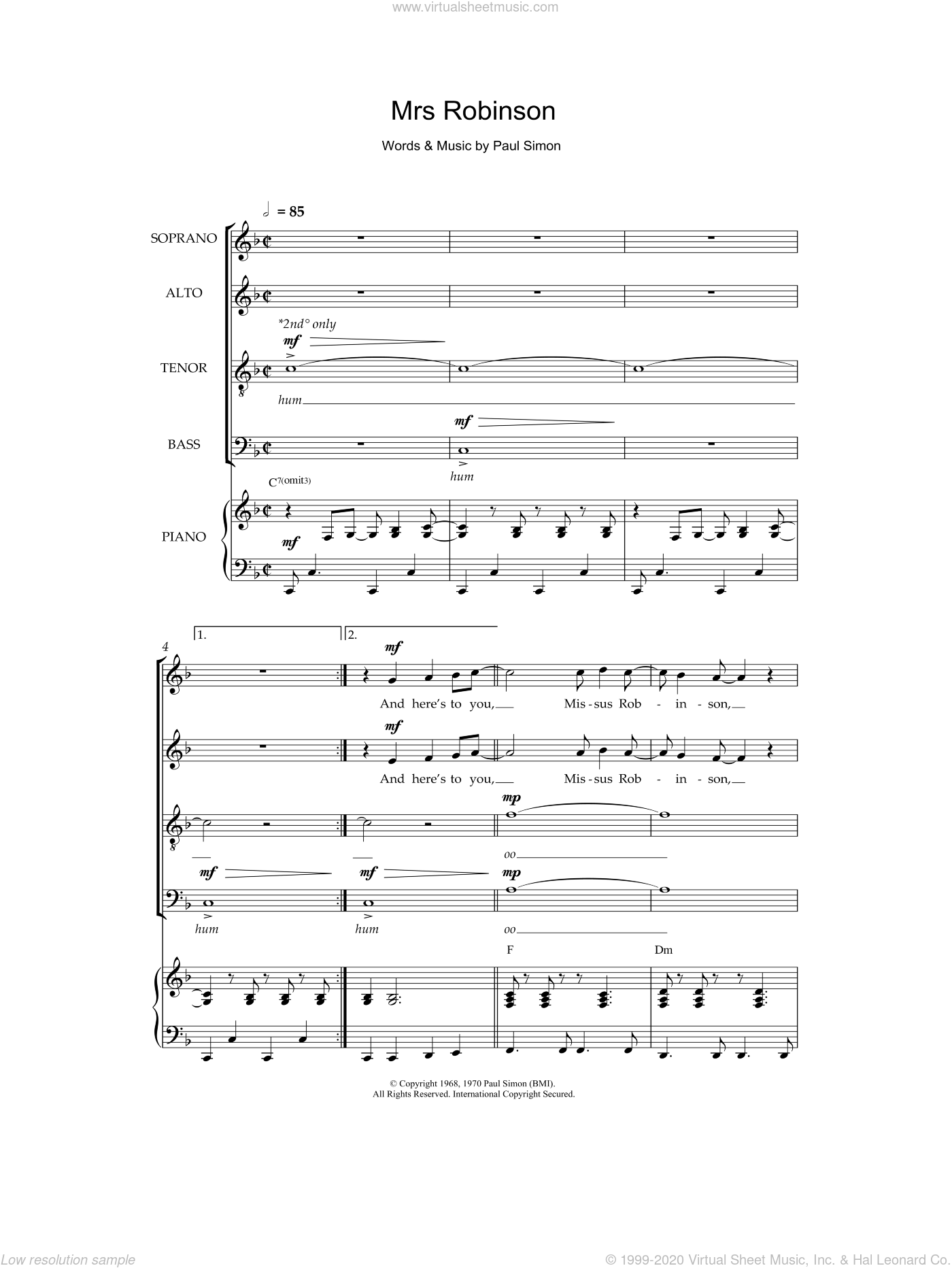 Mrs. Robinson sheet music for choir and piano by Paul Simon and Simon & Garfunkel. Score Image Preview.