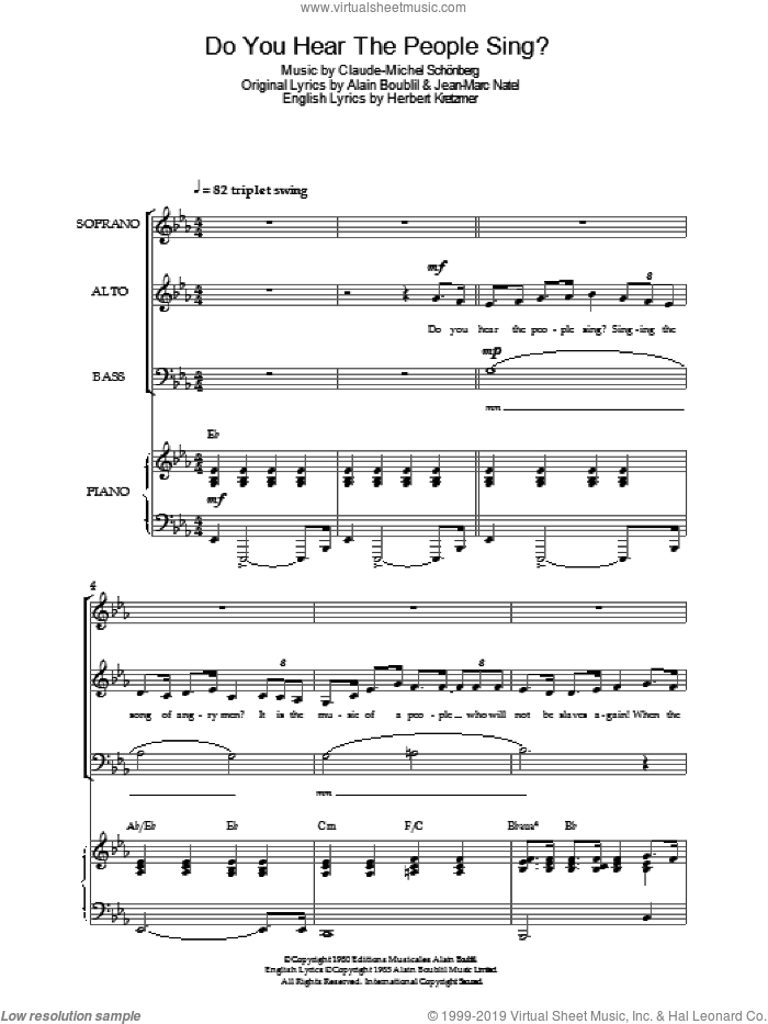 Do You Hear The People Sing? (from Les Miserables) sheet music for voice, piano or guitar by Jean-Marc Natel, Alain Boublil, Claude-Michel Schonberg and Herbert Kretzmer. Score Image Preview.