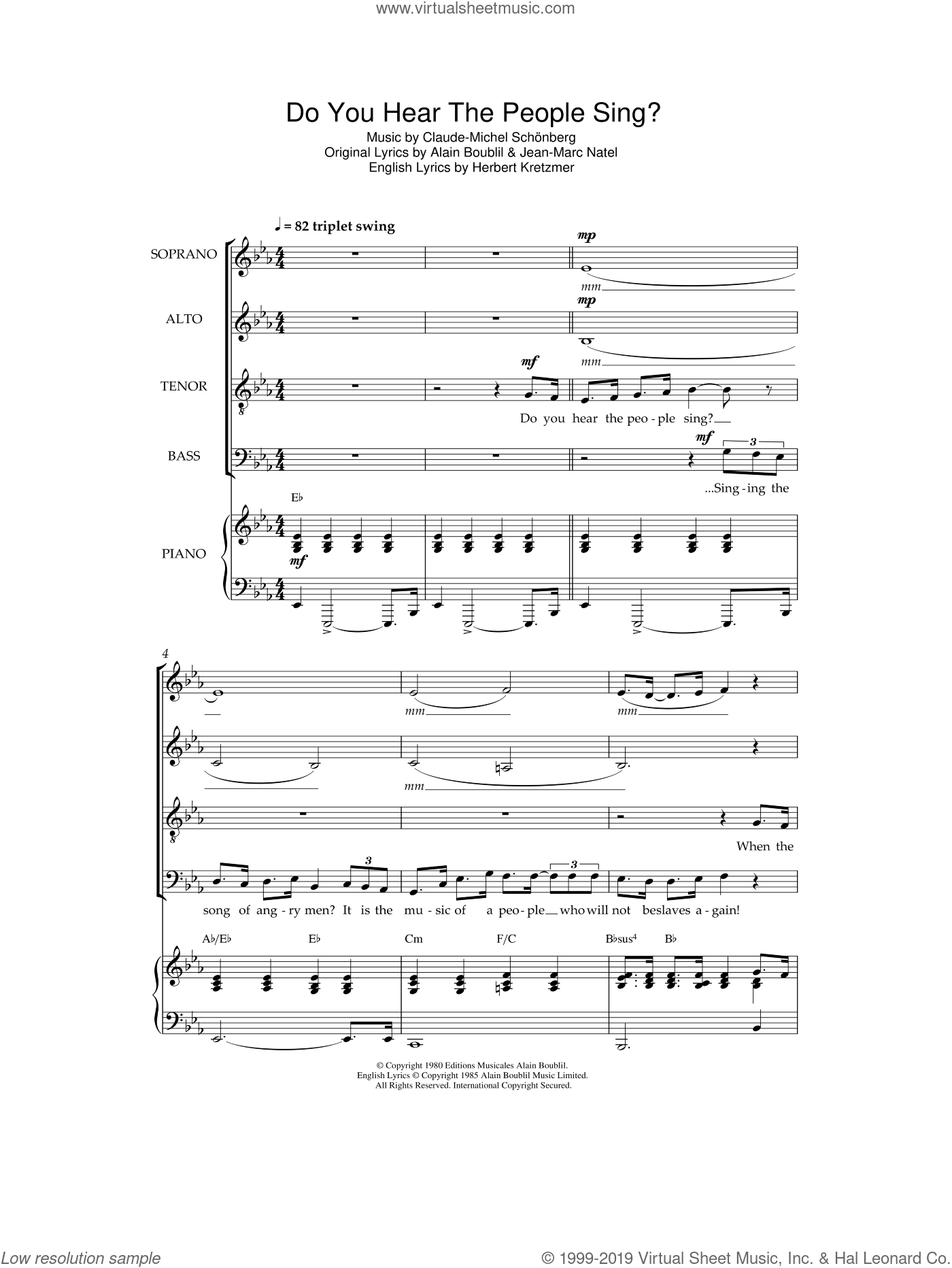 Do You Hear The People Sing? (from Les Miserables) sheet music for choir by Original Cast Recording, Alain Boublil, Claude-Michel Schonberg, Herbert Kretzmer and Jean-Marc Natel, intermediate