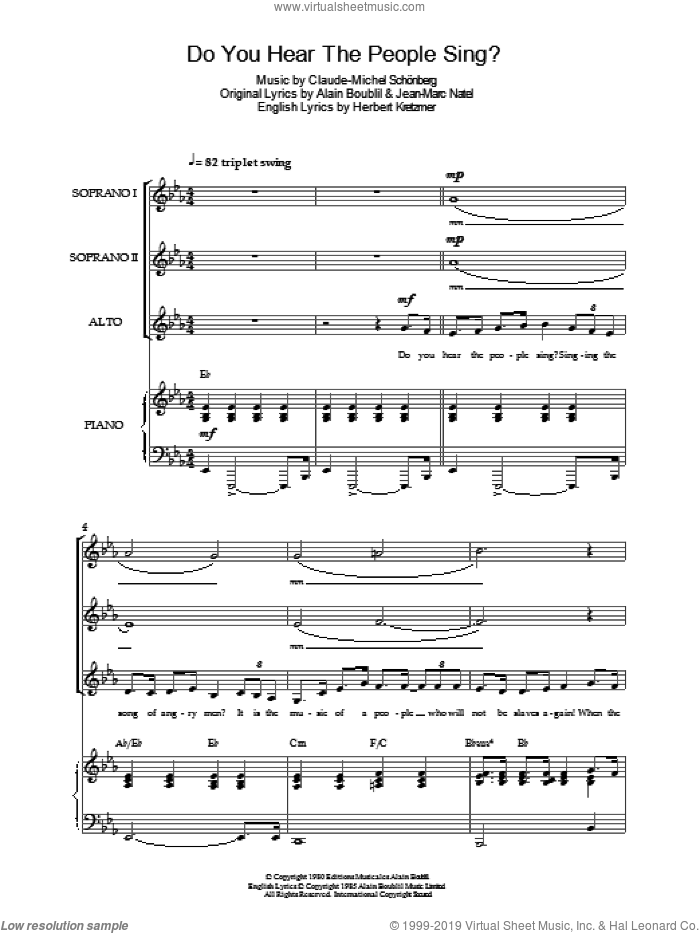 Do You Hear The People Sing? (from Les Miserables) sheet music for choir by Original Cast Recording, Alain Boublil, Claude-Michel Schonberg, Herbert Kretzmer and Jean-Marc Natel, intermediate skill level