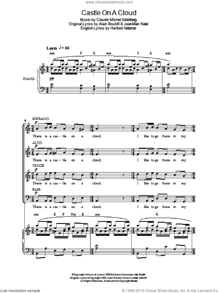 Castle On A Cloud (from Les Miserables) sheet music for choir by Original Cast Recording, Alain Boublil, Claude-Michel Schonberg, Herbert Kretzmer and Jean-Marc Natel, intermediate skill level
