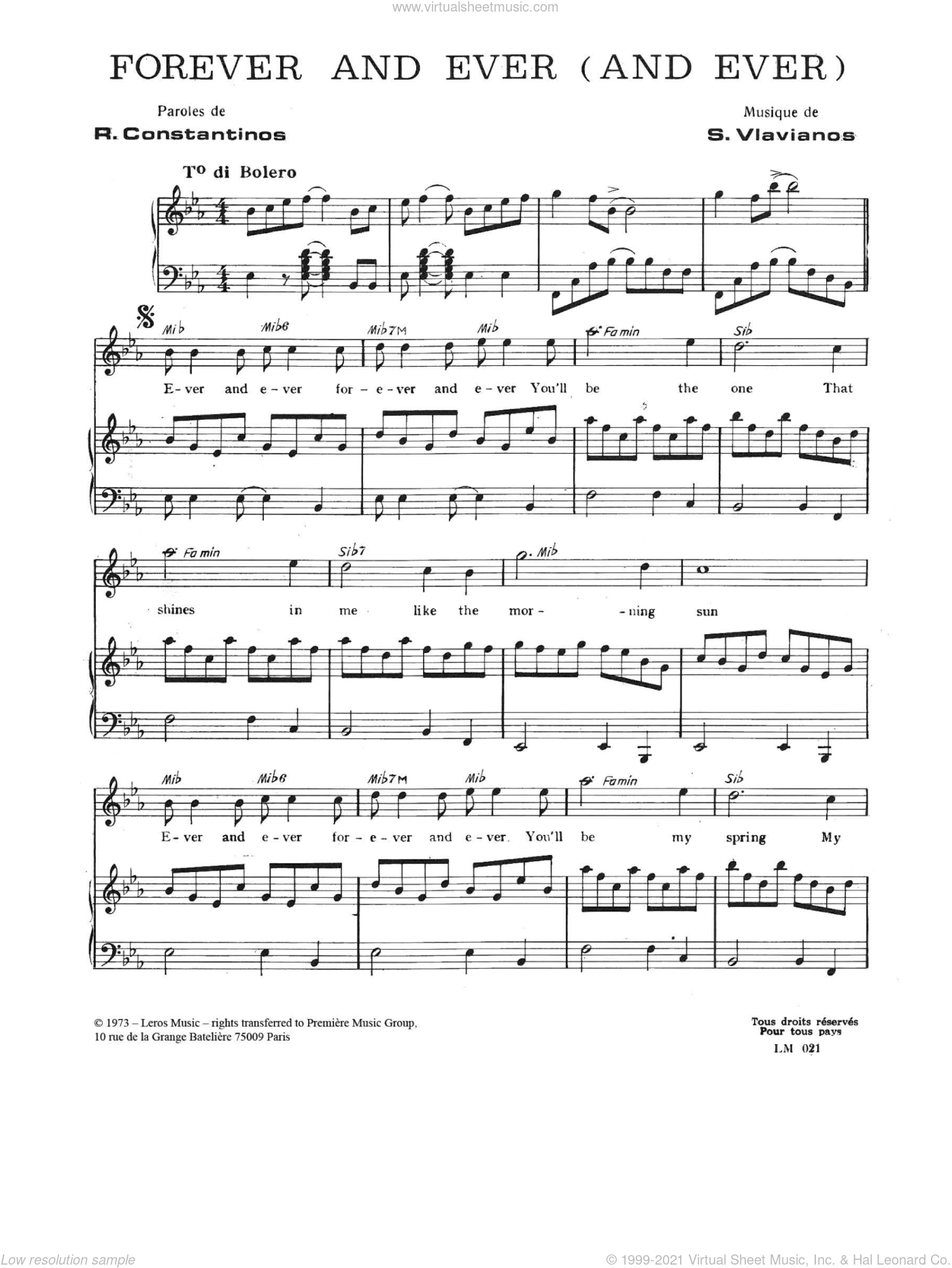 Forever And Ever (And Ever) sheet music for voice and piano by Stylianos Vlavianos and Robert Costandinos, intermediate skill level