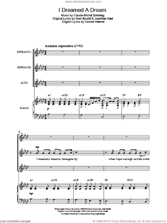 I Dreamed A Dream (from 'Les Miserables') sheet music for choir by Jean-Marc Natel, Alain Boublil, Claude-Michel Schonberg and Herbert Kretzmer. Score Image Preview.