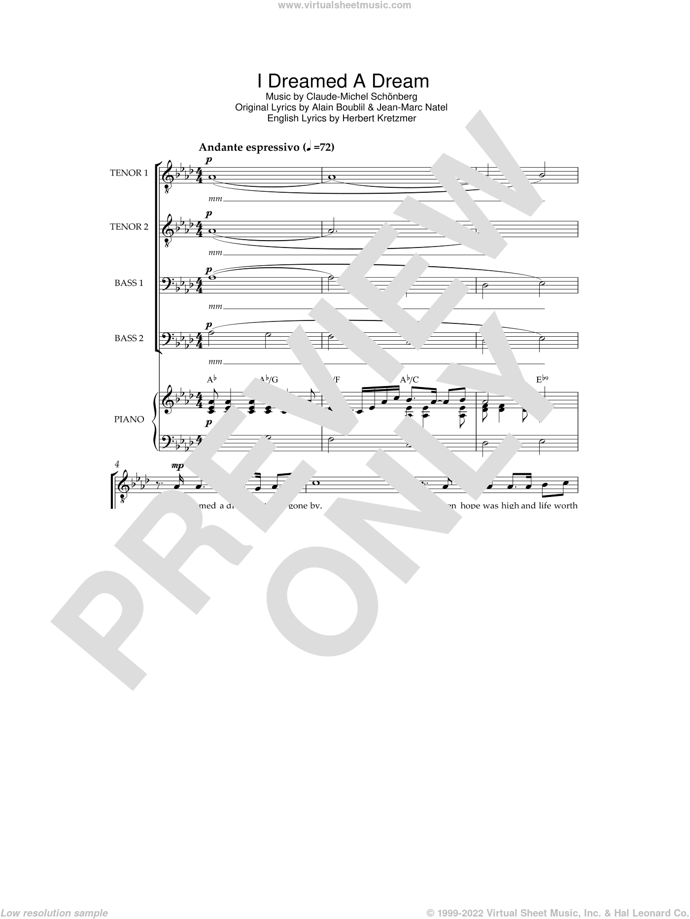 I Dreamed A Dream (from 'Les Miserables') sheet music for voice, piano or guitar by Les Miserables, Alain Boublil, Claude-Michel Schonberg, Herbert Kretzmer and Jean-Marc Natel, intermediate skill level