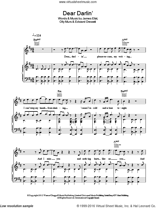 Dear Darlin' sheet music for voice, piano or guitar by Olly Murs and Edward Drewett. Score Image Preview.