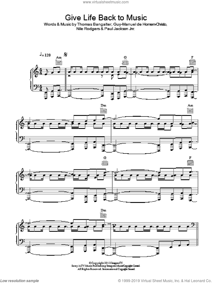 Give Life Back To Music sheet music for voice, piano or guitar by Daft Punk, Guy-Manuel de Homem-Christo, Nile Rodgers, Paul Jackson Jnr. and Thomas Bangalter, intermediate skill level