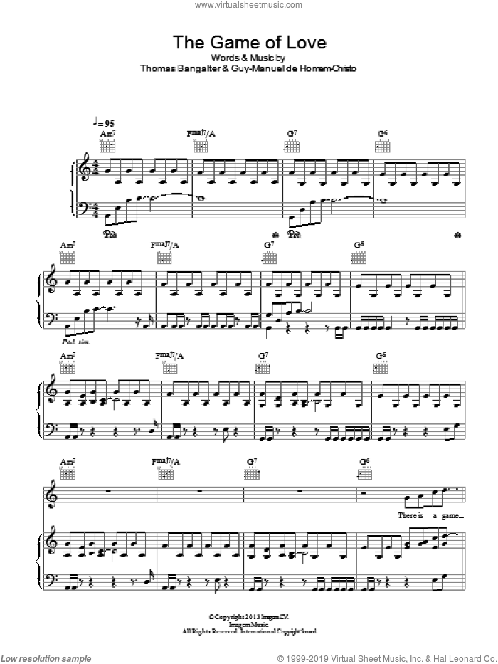 The Game Of Love sheet music for voice, piano or guitar by Daft Punk, intermediate voice, piano or guitar. Score Image Preview.