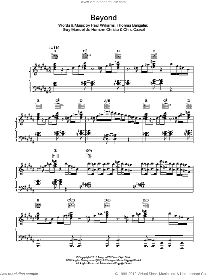 Beyond sheet music for voice, piano or guitar by Daft Punk, Chris Caswell, Guy-Manuel de Homem-Christo, Paul Williams and Thomas Bangalter, intermediate skill level