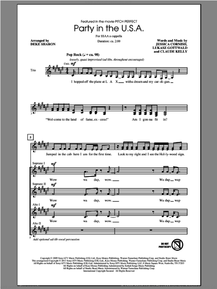 Party In The U.S.A. sheet music for choir (SSA: soprano, alto) by Miley Cyrus, Deke Sharon and Pitch Perfect (Movie), intermediate skill level