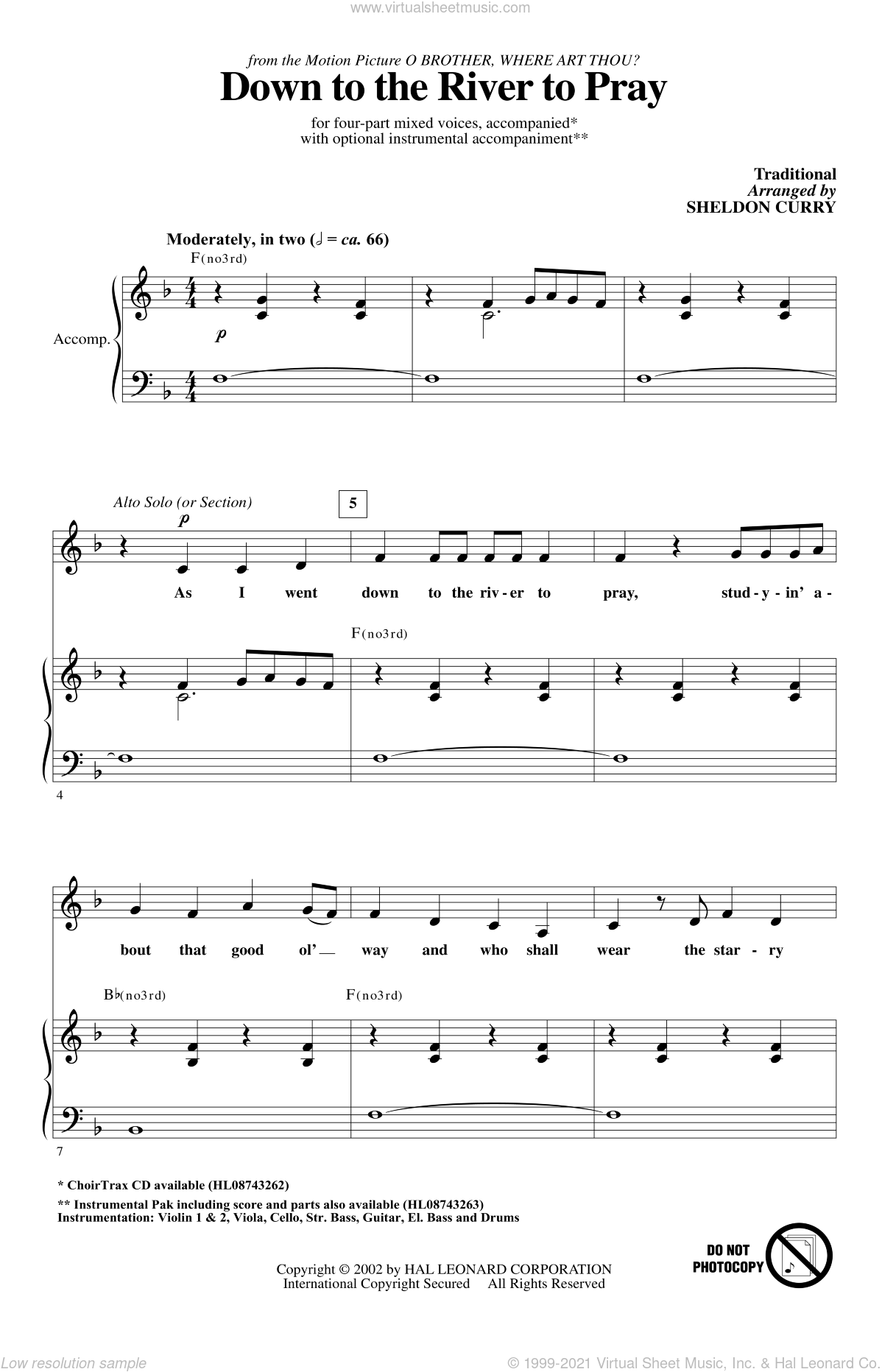 Down To The River To Pray sheet music for choir (SATB) by Sheldon Curry. Score Image Preview.