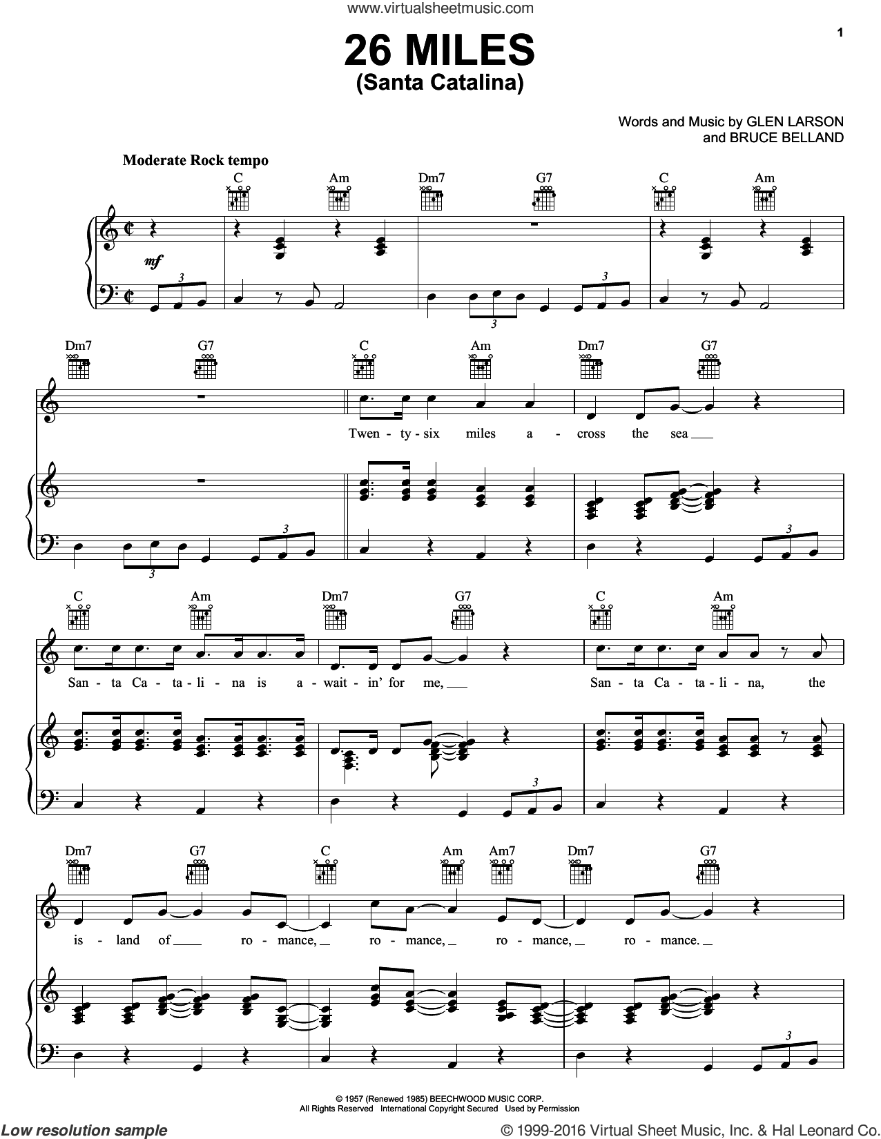 26 Miles (Santa Catalina) sheet music for voice, piano or guitar by Four Preps, Bruce Belland and Glen Larson, intermediate skill level