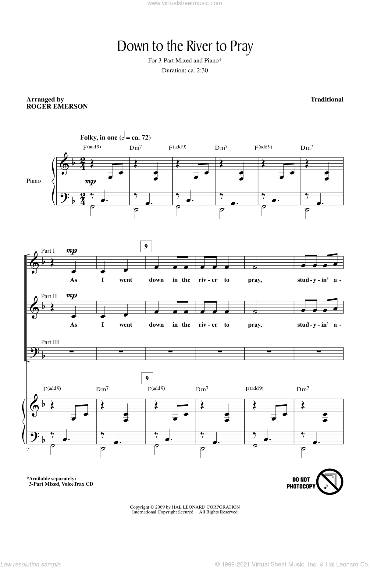 Down To The River To Pray sheet music for choir (3-Part Mixed) by Roger Emerson, intermediate skill level