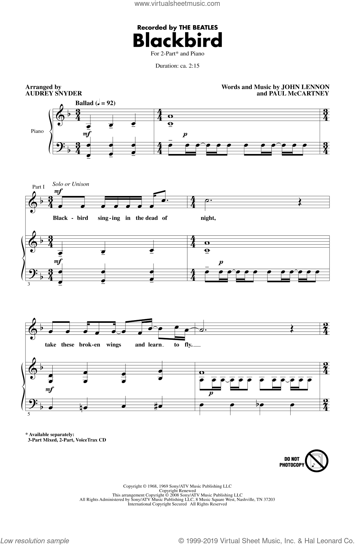Blackbird sheet music for choir (duets) by The Beatles, Audrey Snyder, John Lennon, Paul McCartney and Wings, intermediate. Score Image Preview.