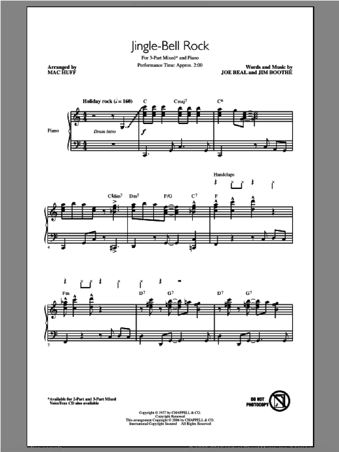 Jingle Bell Rock sheet music for choir and piano (chamber ensemble) by Mac Huff. Score Image Preview.
