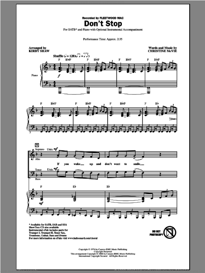Don't Stop sheet music for choir (SATB: soprano, alto, tenor, bass) by Kirby Shaw and Fleetwood Mac, intermediate skill level