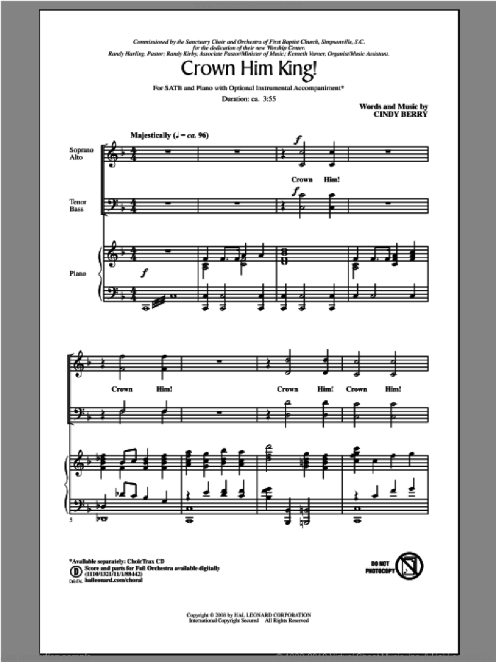 Crown Him King! sheet music for choir (SATB) by Cindy Berry. Score Image Preview.