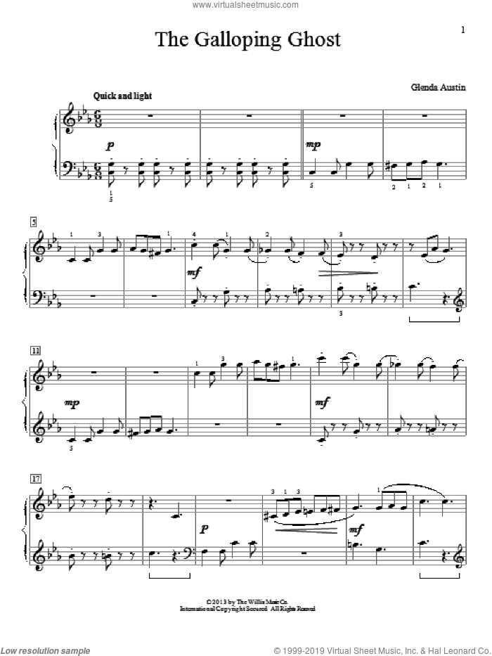 The Galloping Ghost sheet music for piano solo (elementary) by Glenda Austin