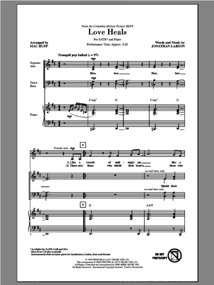 Love Heals sheet music for choir (SATB: soprano, alto, tenor, bass) by Mac Huff and Jonathan Larson, intermediate