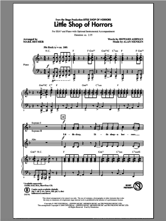Little Shop Of Horrors sheet music for choir (soprano voice, alto voice, choir) by Alan Menken, Howard Ashman and Mark Brymer. Score Image Preview.