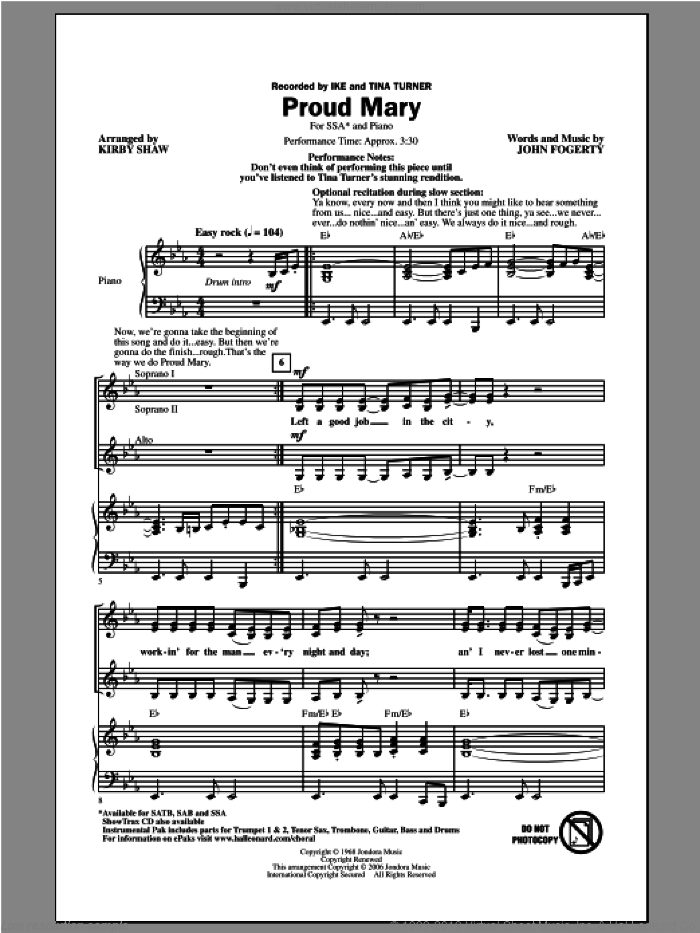 Proud Mary sheet music for choir (soprano voice, alto voice, choir) by Kirby Shaw, Creedence Clearwater Revival and Tina Turner. Score Image Preview.