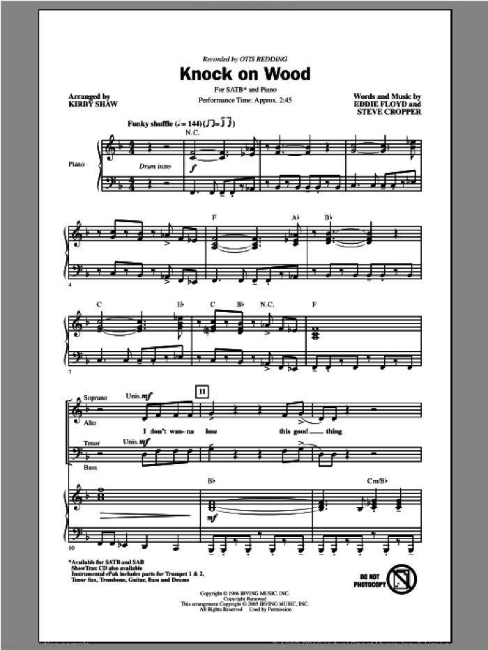 Knock On Wood sheet music for choir (SATB) by Kirby Shaw, Eddie Floyd, Otis Redding and Steve Cropper. Score Image Preview.