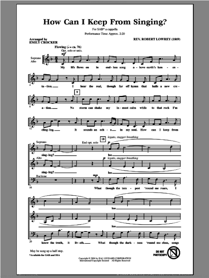 How Can I Keep From Singing sheet music for choir and piano (SAB) by Emily Crocker. Score Image Preview.