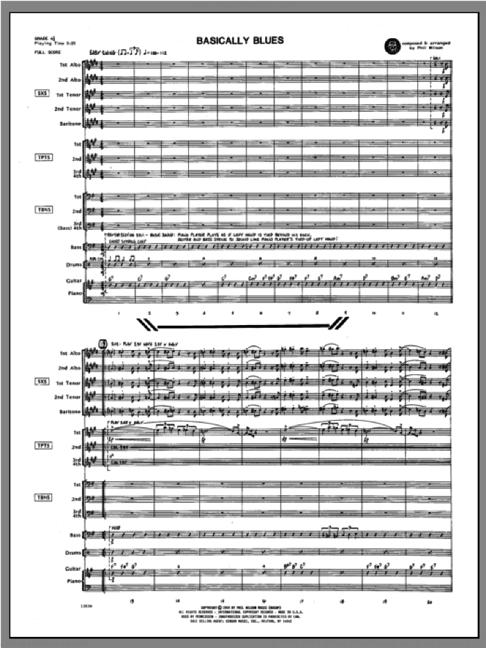 Basically Blues (COMPLETE) sheet music for jazz band by WILSON, classical score, intermediate. Score Image Preview.