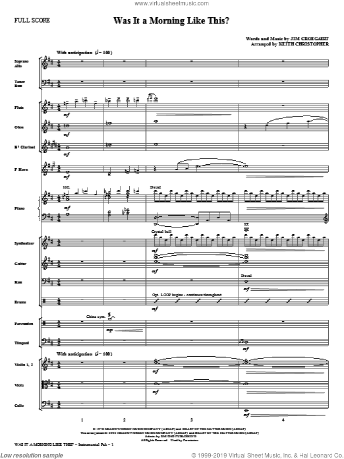 Was It A Morning Like This? (complete set of parts) sheet music for orchestra/band (Orchestra) by Keith Christopher and Jim Croegaert, intermediate skill level