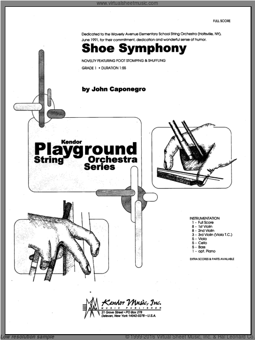 Shoe Symphony (COMPLETE) sheet music for orchestra by Caponegro, classical score, intermediate