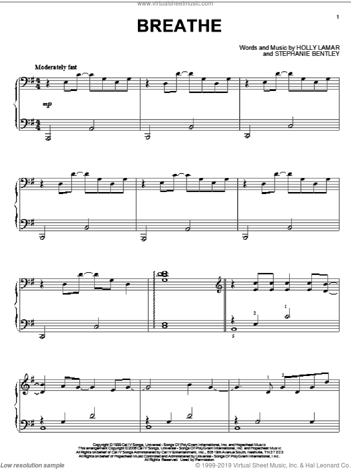 Breathe sheet music for piano solo by Faith Hill, Holly Lamar and Stephanie Bentley, intermediate skill level