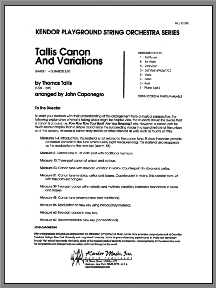 Tallis Canon And Variations (COMPLETE) sheet music for orchestra by Caponegro and Tallis, classical score, intermediate