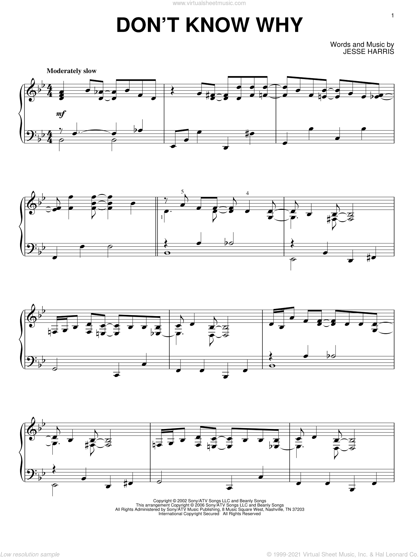 Don't Know Why sheet music for piano solo by Jesse Harris