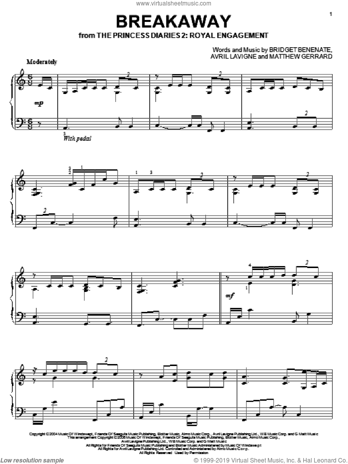 Breakaway sheet music for piano solo by Kelly Clarkson, Avril Lavigne, Bridget Benenate and Matthew Gerrard, intermediate skill level