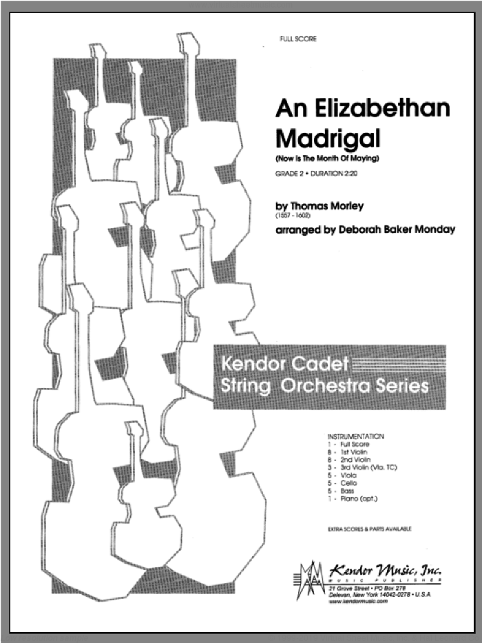Elizabethan Madrigal, An (Now Is The Month Of Maying) (COMPLETE) sheet music for orchestra by Monday, classical score, intermediate orchestra. Score Image Preview.