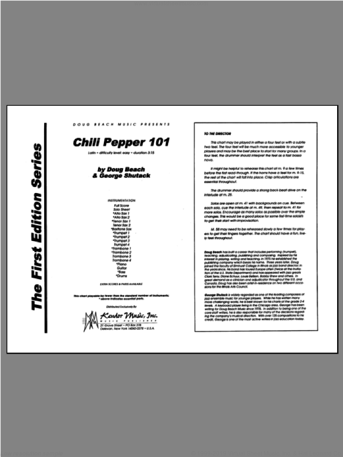 Chili Pepper 101 (COMPLETE) sheet music for jazz band by Beach, Shutack, classical score, intermediate. Score Image Preview.
