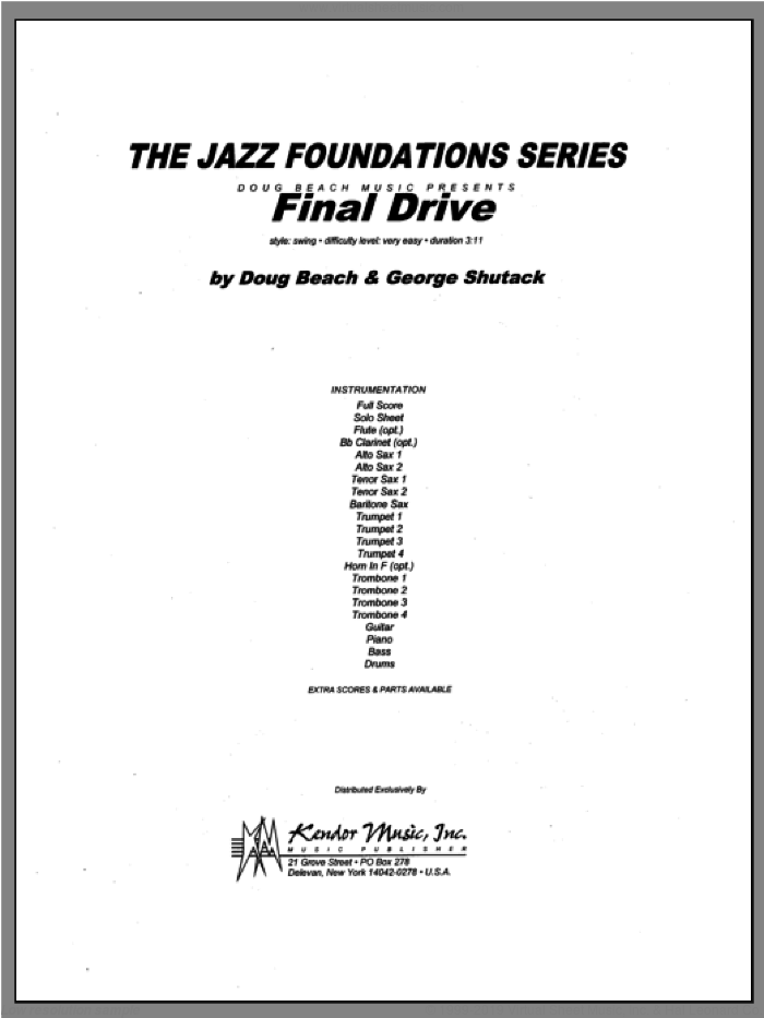 Final Drive (COMPLETE) sheet music for jazz band by Beach, Shutack, classical score, intermediate skill level