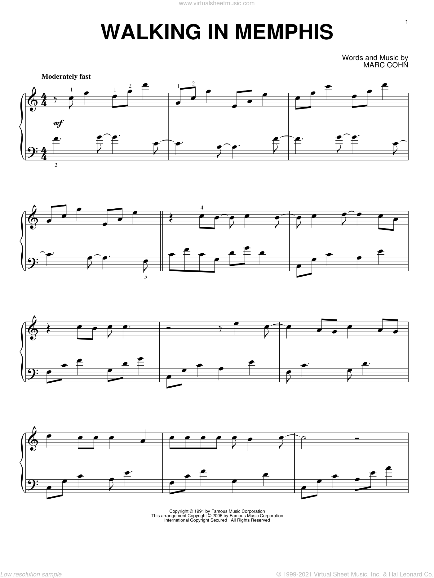 Walking In Memphis sheet music for piano solo by Marc Cohn and Lonestar, intermediate skill level