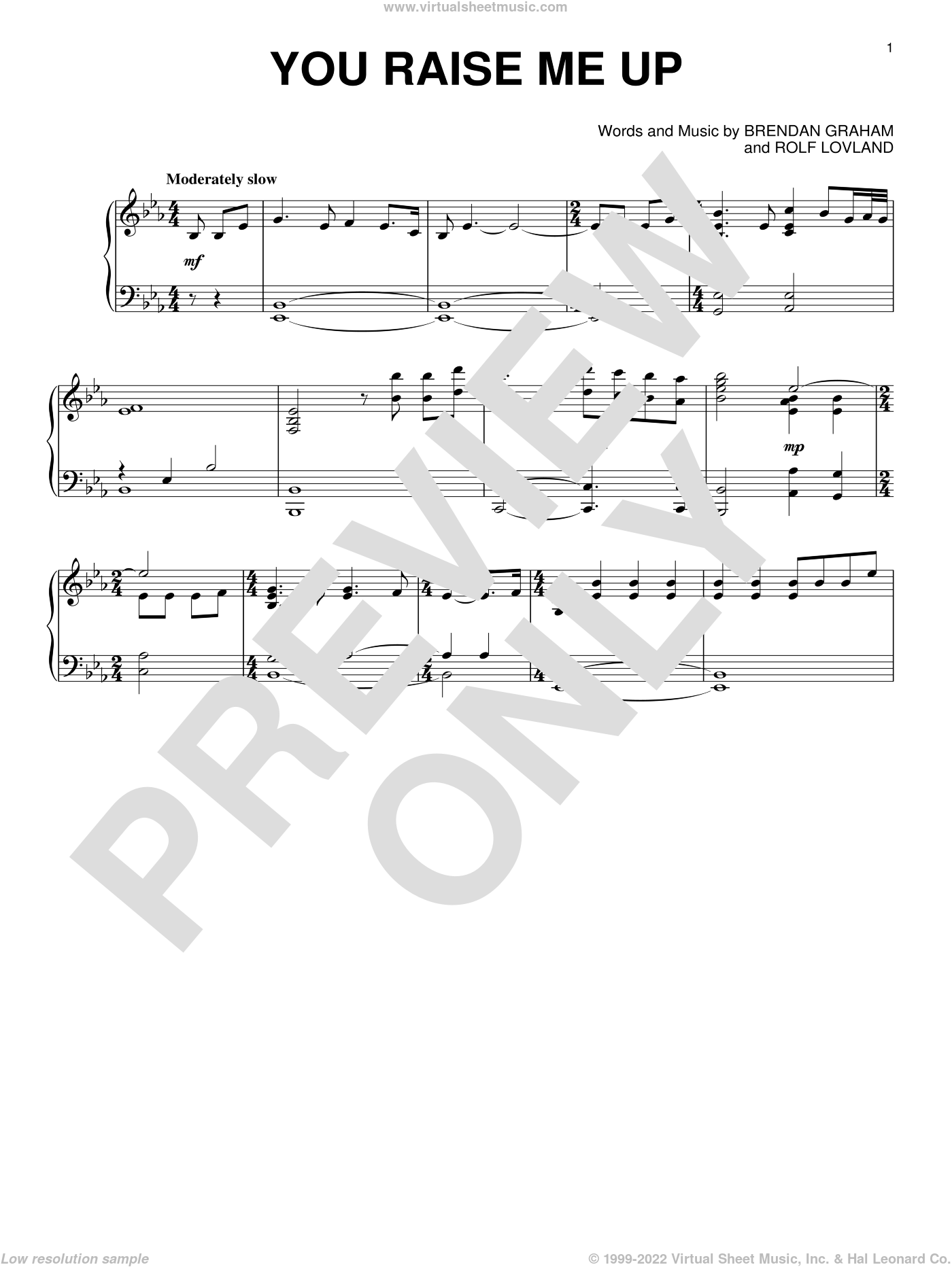 You Raise Me Up, (intermediate) sheet music for piano solo by Josh Groban, Secret Garden, Brendan Graham and Rolf Lovland, wedding score, intermediate skill level