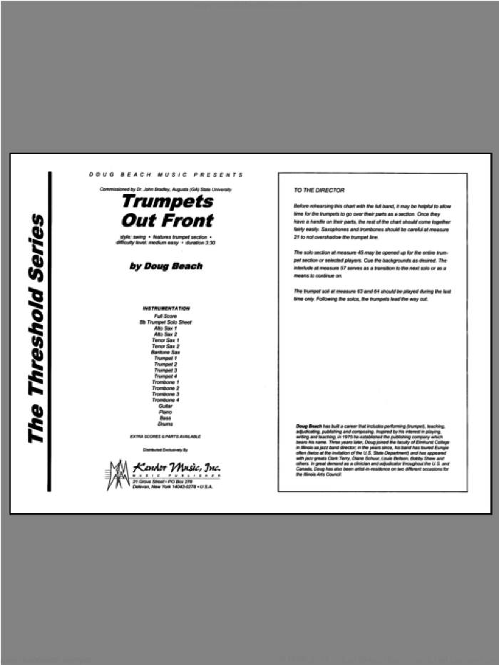 Trumpets Out Front sheet music for jazz band (full score) by Beach